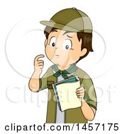 Confused Brunette Caucasian Scout Boy Looking At A Book