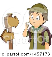 Lost Brunette Caucasian Scout Boy Looking At Hiking Arrow Signs