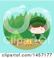 Clipart Of A Happy Brunette Caucasian Scout Boy By A Campfire Over Blue Royalty Free Vector Illustration