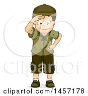 Clipart Of A Happy Brunette Caucasian Scout Boy Shielding His Eyes And Looking At Something Royalty Free Vector Illustration