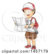 Clipart Of A Brunette White Explorer Boy Reading A Map Royalty Free Vector Illustration