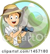 Clipart Of A Brunette White Explorer Boy Holding Binoculars In A Circle Of Mountains Royalty Free Vector Illustration