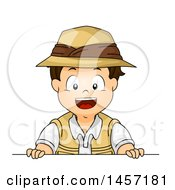 Clipart Of A Brunette White Explorer Boy Over A Board Royalty Free Vector Illustration