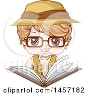 Clipart Of A Blond White Explorer Boy Reading A Book Royalty Free Vector Illustration