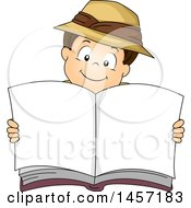 Clipart Of A Brunette White Explorer Boy Holding Up An Open Book Royalty Free Vector Illustration
