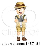 Clipart Of A Brunette White Explorer Boy Taking Pictures With A DSLR Camera Royalty Free Vector Illustration