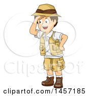Clipart Of A Brunette White Explorer Boy Shielding His Eyes Royalty Free Vector Illustration
