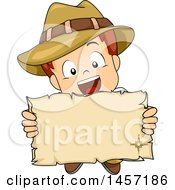 Clipart Of A White Explorer Boy Holding Up A Paper Scroll Royalty Free Vector Illustration