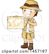 Clipart Of A Brunette White Explorer Boy Holding An Old Parchment Map Royalty Free Vector Illustration