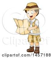 Poster, Art Print Of Brunette White Explorer Boy Reading A Map