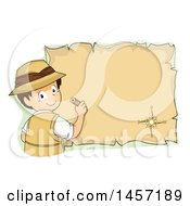 Clipart Of A Brunette White Explorer Boy Drawing On A Parchment Map Royalty Free Vector Illustration