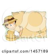 Brunette White Explorer Boy Drawing On A Parchment Map