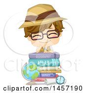 Clipart Of A Happy White Boy Wearing A Safari Hat And Resting On A Stack Of Books By A Desk Globe Royalty Free Vector Illustration by BNP Design Studio