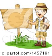 Clipart Of A Brunette White Explorer Boy By A Wood Sign Royalty Free Vector Illustration