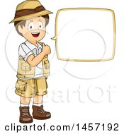 Clipart Of A Brunette White Explorer Boy Talking Royalty Free Vector Illustration