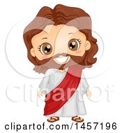 Clipart Of A Happy Boy In A Jesus Christ Costume Royalty Free Vector Illustration