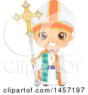 Clipart Of A Happy Boy In A Bishop Costume Royalty Free Vector Illustration