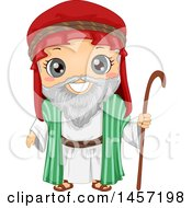 Clipart Of A Happy Boy In An Abraham Costume Royalty Free Vector Illustration