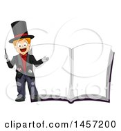 Clipart Of A Happy Caucasian Boy Magician By A Giant Book With Blank Pages Royalty Free Vector Illustration