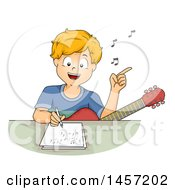 Clipart Of A Happy Blond Caucasian Boy Singing With A Guitar In His Lap And Writing A Song Royalty Free Vector Illustration