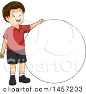 Clipart Of A Happy Brunette Caucasian Boy By A Circle Royalty Free Vector Illustration by BNP Design Studio