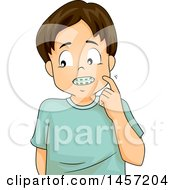 Clipart Of A Shy Brunette Caucasian Boy Showing His Braces Royalty Free Vector Illustration