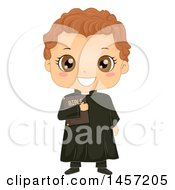 Clipart Of A Happy Boy In A Priest Costume Royalty Free Vector Illustration