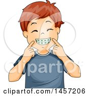 Clipart Of A Happy Red Haired Caucasian Boy Showing His Braces Royalty Free Vector Illustration by BNP Design Studio