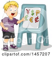 Clipart Of A Happy Blond Caucasian School Boy Learning About Currencies Royalty Free Vector Illustration