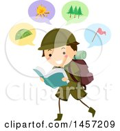Clipart Of A Brunette Caucasian Scout Boy Reading About Camping Royalty Free Vector Illustration by BNP Design Studio