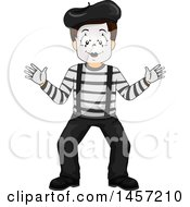 Clipart Of A Boy Mime Acting As If He Were Against A Wall Royalty Free Vector Illustration