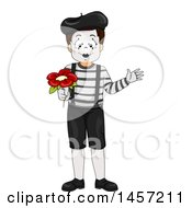 Clipart Of A Boy Mime Holding A Flower Royalty Free Vector Illustration by BNP Design Studio