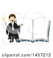Clipart Of A Caucasian Wizard Boy By A Giant Magic Book Royalty Free Vector Illustration
