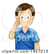 Clipart Of A Happy Brunette Caucasian Boy Pointing To His Eye Royalty Free Vector Illustration