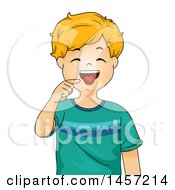 Clipart Of A Happy Blond Caucasian Boy Pointing To His Tongue Royalty Free Vector Illustration