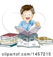 Clipart Of A Happy Brunette Caucasian Boy Reading A Book About God Royalty Free Vector Illustration