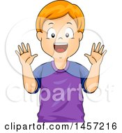 Clipart Of A Happy Red Haired Caucasian Boy Showing His Hands Royalty Free Vector Illustration by BNP Design Studio