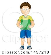 Clipart Of A Happy Brunette Caucasian Boy Showing His Hips Royalty Free Vector Illustration