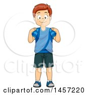 Clipart Of A Happy Red Haired Caucasian Boy Touching His Shoulders Royalty Free Vector Illustration