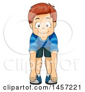 Clipart Of A Happy Red Haired Caucasian Boy Touching His Toes Royalty Free Vector Illustration by BNP Design Studio