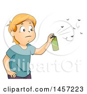 Clipart Of A Red Haired Caucasian Boy Spraying Bugs With Repellant Royalty Free Vector Illustration