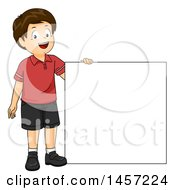 Clipart Of A Happy Brunette Caucasian Boy Holding Up A Blank Square Or Sign Royalty Free Vector Illustration