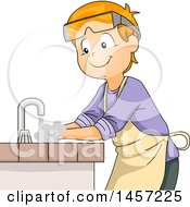 Clipart Of A Happy Red Haired Caucasian Boy Washing His Hands In A Science Laboratory Sink Royalty Free Vector Illustration