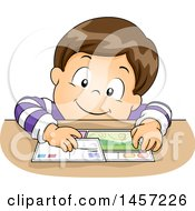 Clipart Of A Brunette White Boy Mailing Postcards Royalty Free Vector Illustration