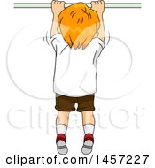 Clipart Of A Rear View Of A Red Haired White Boy Doing Pull Ups Royalty Free Vector Illustration