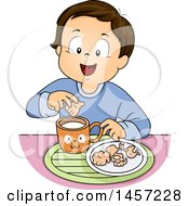 Clipart Of A Brunette White Boy Dipping Animal Crackers In Milk Royalty Free Vector Illustration by BNP Design Studio