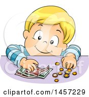 Clipart Of A Blond White Boy Counting Coins And Cash Royalty Free Vector Illustration