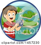 Clipart Of A Brunette White Boy Holding A Camera Over A Circle Of Islands Royalty Free Vector Illustration by BNP Design Studio