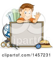 Brunette White School Boy Waving Over A Board Surrounded By Geography Items