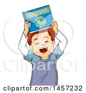 Clipart Of A Red Haired White School Boy Holding Up A Geography Book Royalty Free Vector Illustration